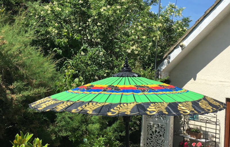Eight Foot Large Balanese Umbrella, Parasol, Green, Red, Blue, Yellow, Black and Gold