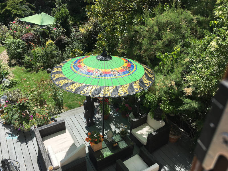 Eight Foot Large Exotic Garden Umbrella, Parasol, Green, Red, Blue, Yellow, Black and Gold