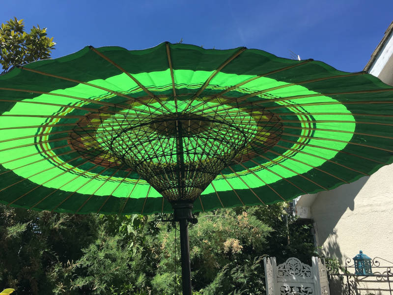 Eight Foot Large Two Metre Garden Umbrella, Parasol, Green, Red, Blue, Yellow, Black and Gold