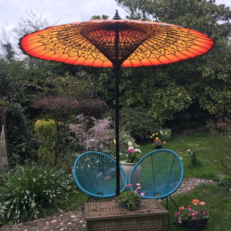 Eight Foot Medium Oriental Umbrella, Parasol, Orange and Black, Mothers Day Gift
