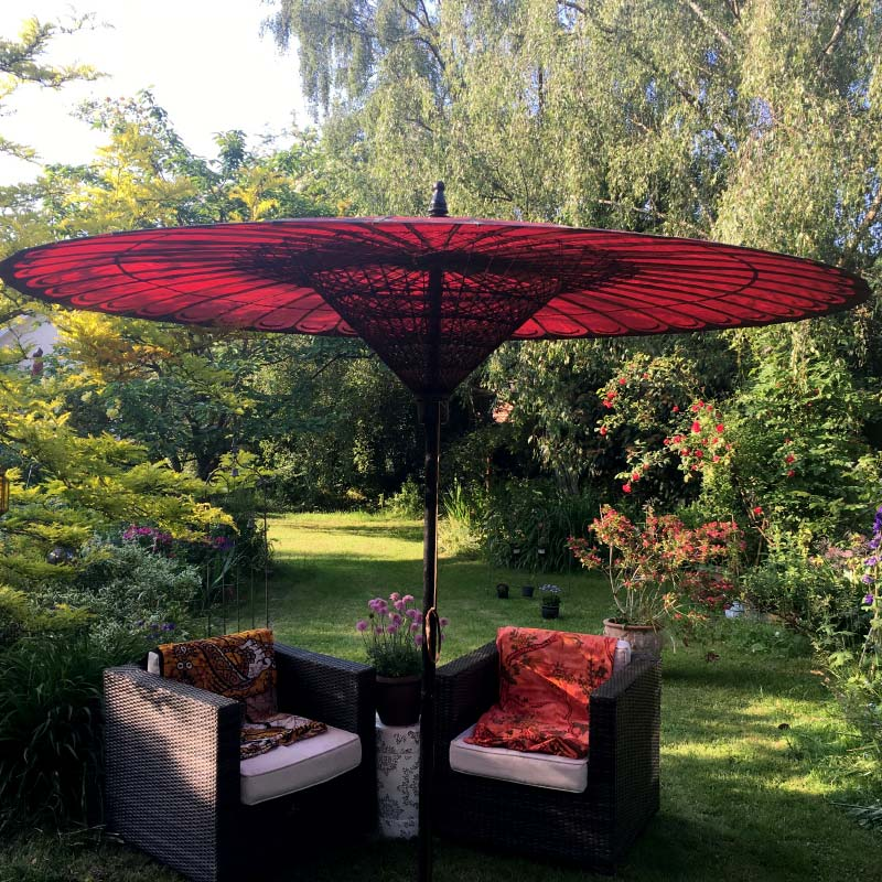 Eight Foot Medium Oriental Umbrella, Parasol, Red / Purple & Black