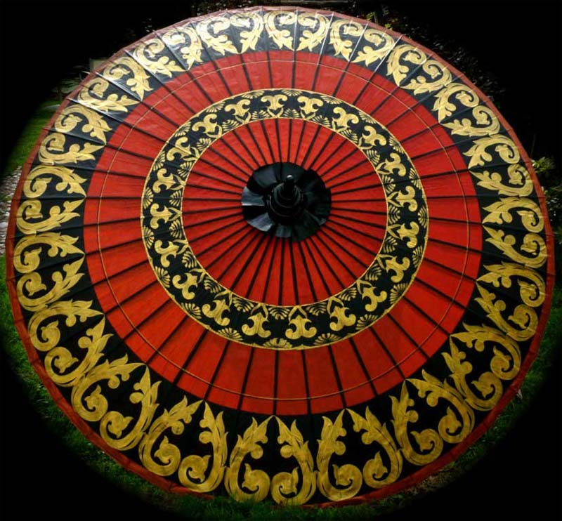 Eight Foot Medium Oriental Umbrella, Parasol, Red, Black and Gold