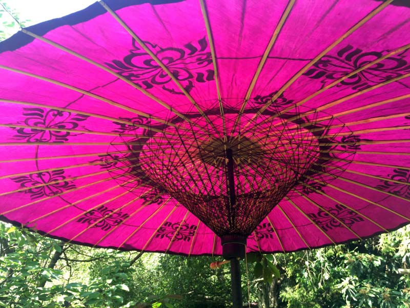 Eight Foot Medium Oriental Umbrella, Parasol, Purple, Black and Gold