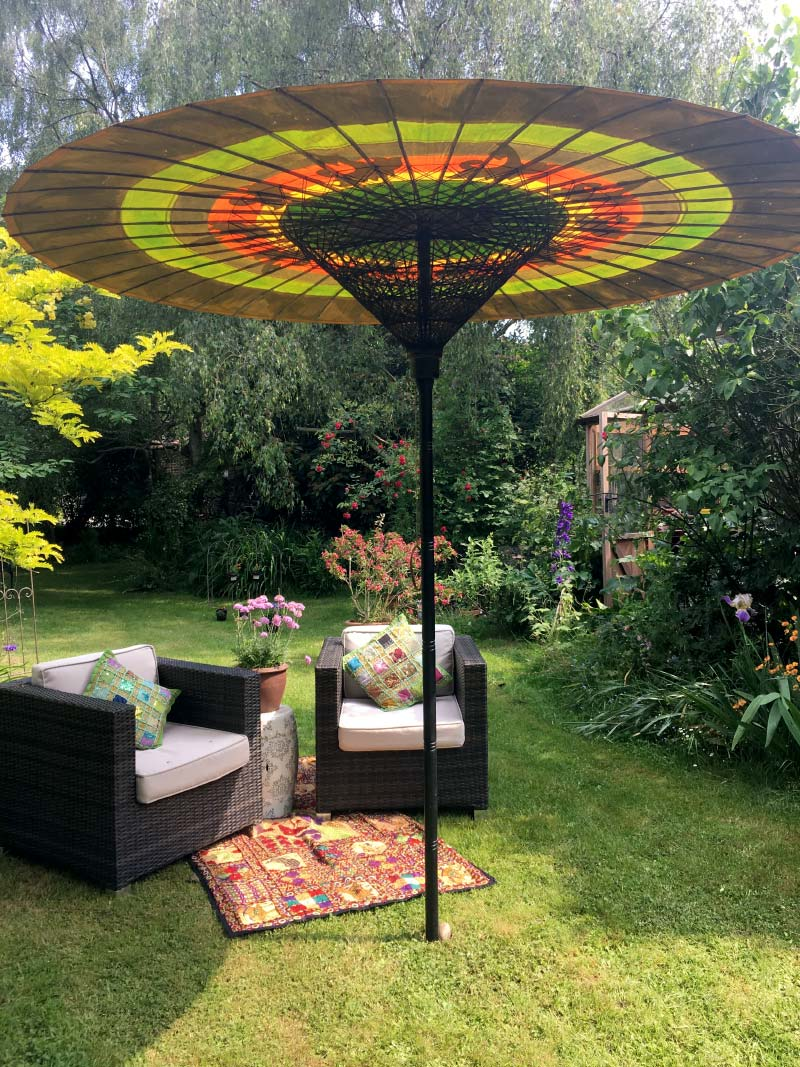 Eight Foot Large Oriental Umbrella, Parasol, Green, Red, Blue, Yellow, Black and Gold