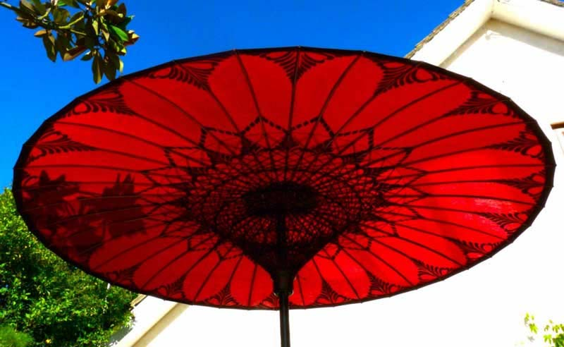 Eight Foot Medium Oriental Umbrella, Parasol, Red and Black