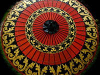 Eight Foot Large Oriental Umbrella, Parasol, Red, Black and Gold