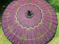 Eight Foot Large Oriental Umbrella, Parasol, Purple, Gold and Black