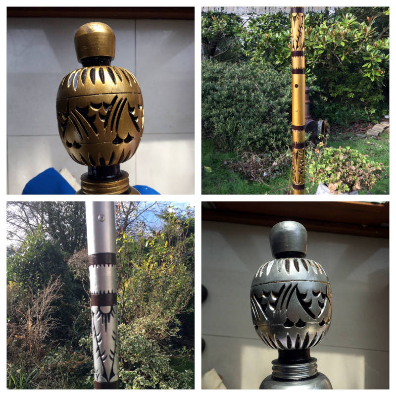 Carved Blue and Gold Garden Pole